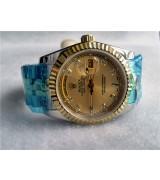 Rolex Day-Date Automatic Watch Gold Dial Bi Tone Bracelet
