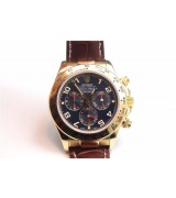 Rolex Daytona Swiss Automatic Watch-Gold Case, Black Dial-Brown Leather Strap