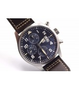 IWC Polit's Le Petit Prince Swiss Automatic Watch-Dark Blue Dial-Brown Leather Strap