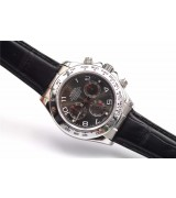 Rolex Daytona Swiss Automatic Watch-Red Ring, Carbonarius Dial-Black Leather Bracelet