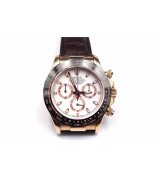 Rolex Daytona Swiss Automatic Watch-White Dial-Brown Leather Bracelet