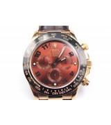 Rolex Daytona Swiss Automatic Watch-Brick Red Dial-Brown Leather Bracelet