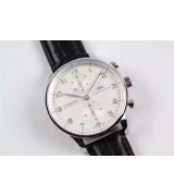 IWC Portuguese Swiss Chronograph-White Dial Silver Markers Black Leather Strap