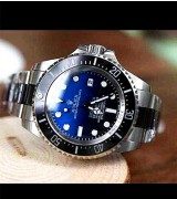 Rolex Sea Dweller DeepSea Automatic Watch-Black&Blue Dial White Dot Markers-Ceramic Midlinks Bracelet 44mm