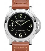 Panerai PAM00111 Handwound Watch-Black Dial/Subdials-Brown Leather Strap