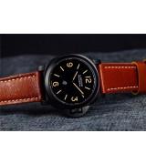 Panerai PAM360 DLC Manual Handwound Swiss Watch-Black Logo Dial-Brown Calf Leather Strap
