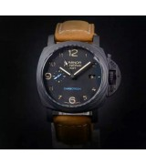 Panerai Luminor GMT Carbotech Watch-Black Dial Brown Leather