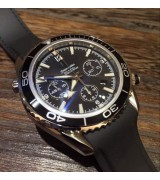 Omega Sea-Master Swiss Automatic Watch Men-Black Dial with Stick Hour Markers-Black Rubber Bracelet