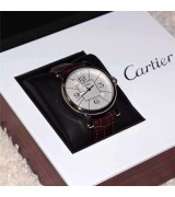 Cartier Pasha Swiss eta2824 Automatic Watch-White Dial with Huge Numerals-Brown Rubber Strap