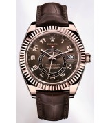 Rolex Sky-Dweller Automatic Watch 18K Rose Gold Chocolate Dial Alligator Strap