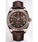 Rolex Sky-Dweller Automatic Watch 18K Rose Gold Chocolate Dial Alligator Strap