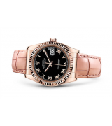 Rolex Datejust Swiss Automatic Watch Black Dial Pink Leather Strap 36MM