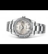 Rolex Datejust Swiss Automatic Watch 36mm Rhodium Dial Oyster Bracelet