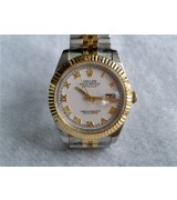 Rolex Datejust II 41mm Two Tone Fluted Bezel 18K Gold-White Dial Roman Markers-Stainless Steel Jubilee Bracelet