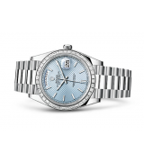 Rolex Day-Date Swiss Automatic Watch Ice Blue Dial Diamonds Bezel 40mm