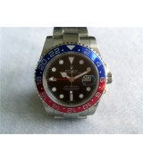 Rolex GMT II 50th Anniversary Ceramic Automatic Watch-Black Dial Blue/Red Bezel-Stainless Steel Oyster Bracelet