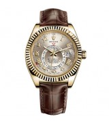 Rolex Sky-Dweller Automatic Watch Yellow Gold Brown Leather Strap