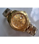 Rolex Yachtmaster II 18K Gold Plated Swiss Automatic Watch-Gold Dial-Stainless Steel Oyster Bracelet