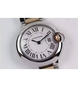 Cartier Ballon Bleu Silver White Swiss Quartz Watch Rose Gold Diamonds Markers
