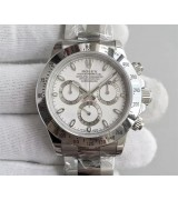 Rolex Daytona Swiss Chronograph-White Dial, Silver Ring Subdials-Stainless Steel Oyster Bracelet