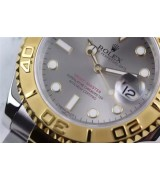 Rolex Yachtmaster II Swiss ETA-Grey Dial-Gold Plated Stainless Steel Oyster Strap