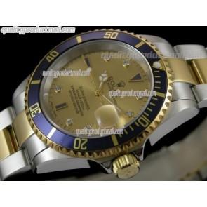 Rolex Submariner Automatic Watch Gold Dial Bi Tone Bracelet
