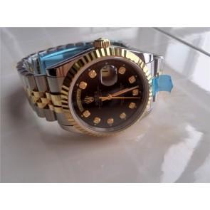 Rolex Day-Date Automatic Watch Black Dial Bi Tone Bracelet