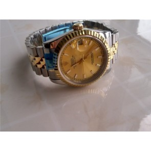Rolex Datejust Automatic Watch Gold Dial Bi Tone Bracelet