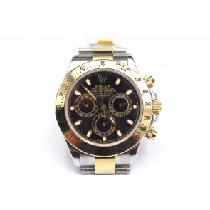 Rolex Daytona Swiss Automatic Watch-Gold Ring, Black Dial-Gold Midlink Bracelet