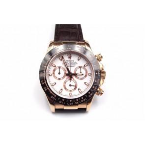 Rolex Daytona Swiss Automatic Watch-White Dial-Brown Leather Bracelet