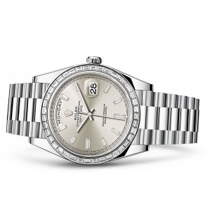 Rolex Day-Date 228396TBR Swiss 3255 Automatic Watch Silver Dial 40MM