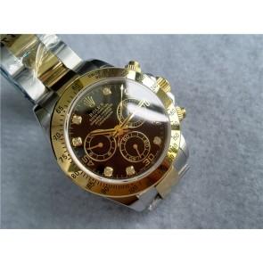 Rolex Daytona Swiss 18K Gold Bi Tone Chronograph-Black Dial Gold Ring Subdials-Diamond Hours-Stainless Steel Oyster Bracelet