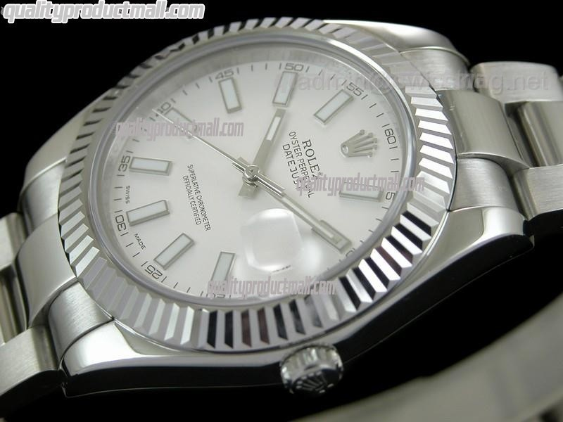 Rolex Datejust II 41mm Swiss Automatic Watch-White Dial Luminous Index hour markers-Stainless Steel Oyster Bracelet