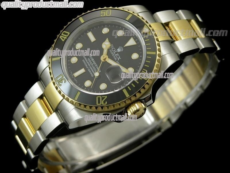 Rolex Submariner Automatic Swiss Watch 18k Gold-Black Dial-Stainless Steel New Style Brushed Oyster Bracelet
