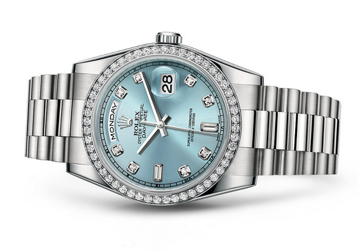 Rolex Day-Date 118346 Swiss Automatic Watch Ice-Blue Dial 36MM