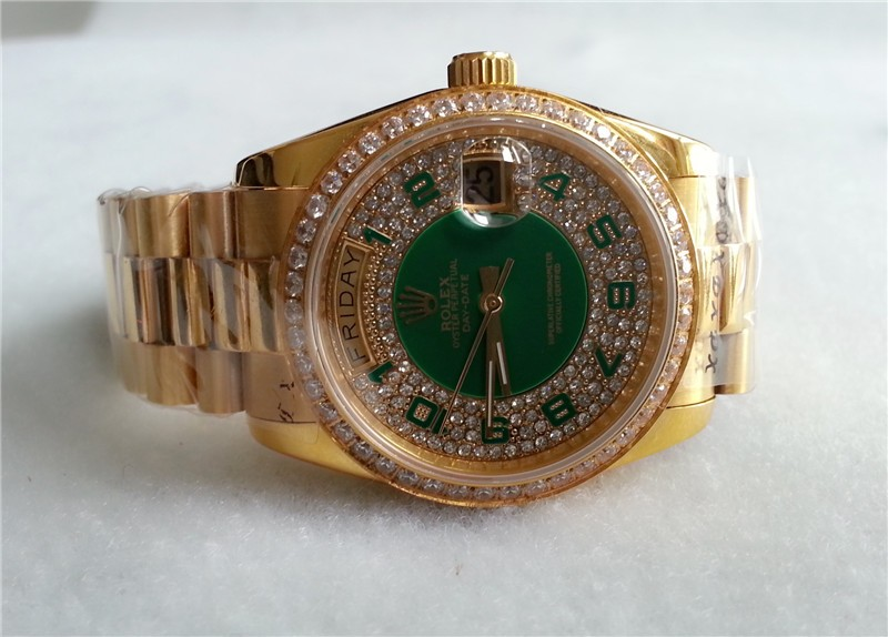 Rolex Day-Date 118348 Swiss Automatic Watch Diamonds Dial 36MM