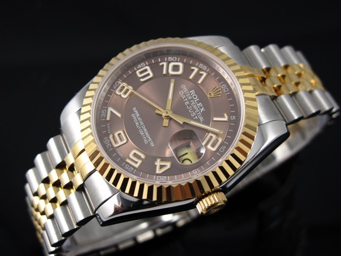 Rolex Datejust E717 Automatic 18k Gold-Coffee Dial Number Markers-Stainless Steel Strap
