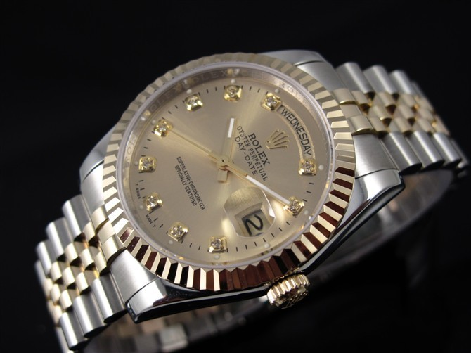 Rolex Day Date Automatic Swiss Watch 18K Gold-Gold Dial Diamond Hour Markers-Stainless Steel Jubilee Bracelet