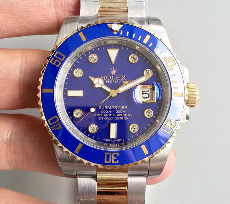 Rolex Submariner Automatic Watch 18K Gold Blue Dial Diamonds Marker