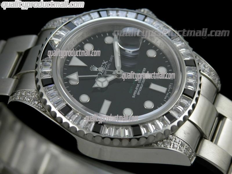 Rolex GMT II 50th Anniversary Bling Model Automatic Watch-Black Dial Black Crested Bezel-Stainless Steel Oyster Bracelet