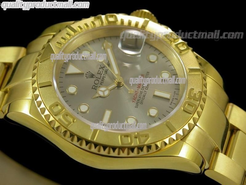 Rolex Yachtmaster II Gold Swiss ETA-Silver Grey Dial White Dot Markers-Gold Plated Stainless Steel Oyster Strap