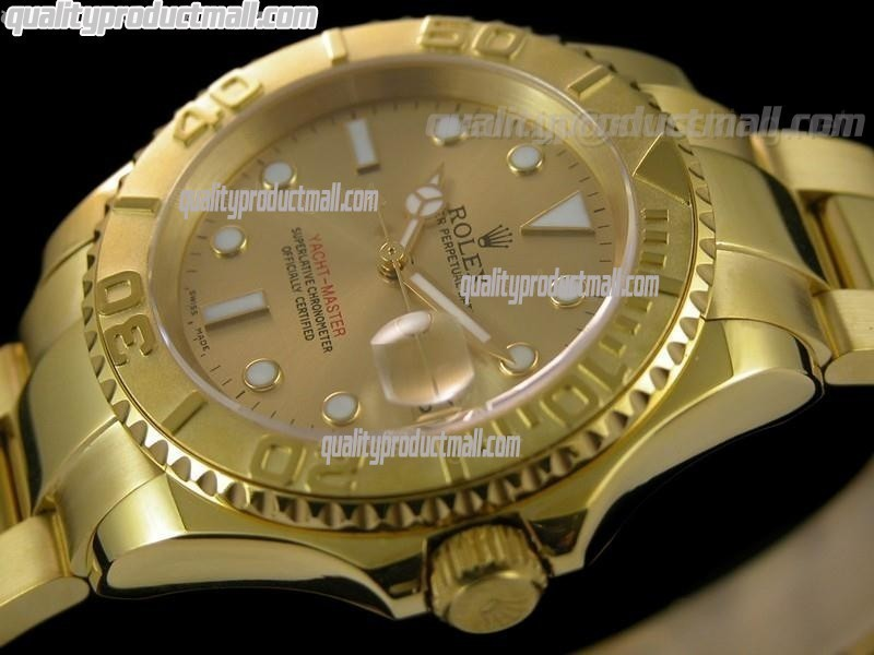 Rolex Yachtmaster II 18K Gold Plated Swiss Automatic Watch-Gold Dial White Dot Markers-Stainless Steel Oyster Bracelet