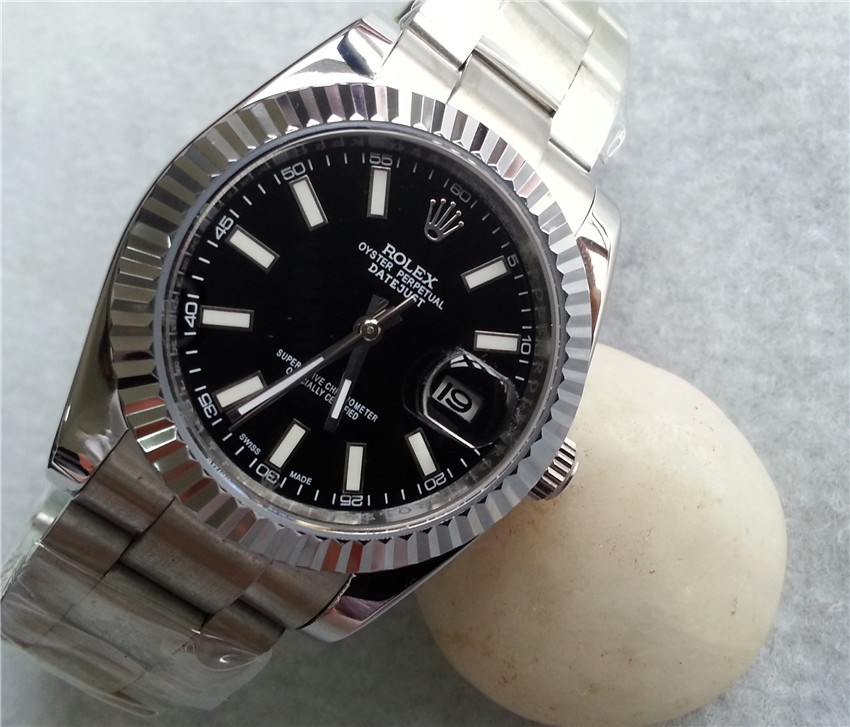 Rolex Datejust II Automatic Watch Black Dial Index Hour Markers
