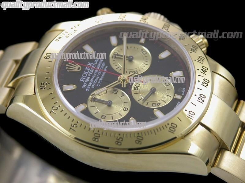 Rolex Daytona Swiss 18K Gold Chronograph-Black Dial Gold Paul Newman Style Subdials-Stainless Steel Oyster Bracelet