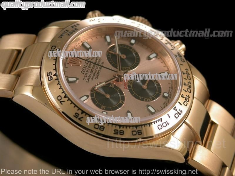 Rolex Daytona Swiss Chronograph 18k Rose Gold-Pink Gold Dial 3 Functional Sub Dial-Stainless Steel Strap