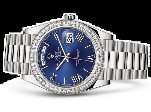Rolex Day-Date 228349 Swiss Automatic Watch Blue Dial Diamonds Bezel 40MM