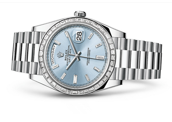 Rolex Day-Date 228396TBR Swiss Automatic Watch Ice-Blue Dial Presidential Bracelet 40MM