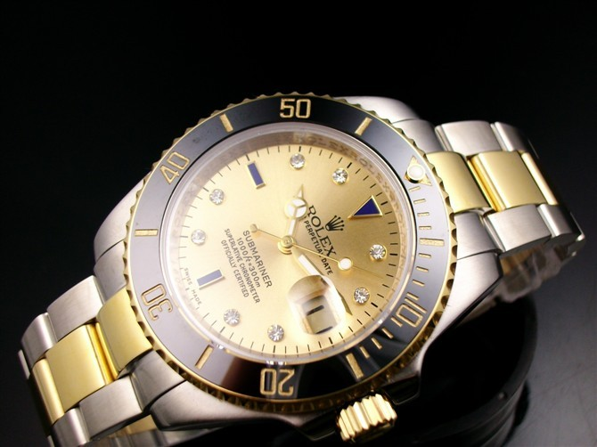 Rolex Submariner E718 Automatic 18k Gold-Gold Dial-Stainless Steel Strap