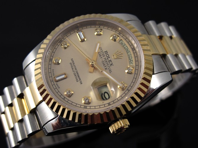 Rolex Day-Date E702 Automatic 18k Gold-Gold Dial Diamond Markers-Stainless Steel Strap