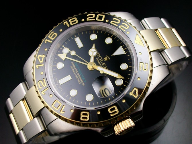 Rolex GMT II E714 Automatic 18k Gold-Black Dial White Dots Sticks Markers-Stainless Steel Oyster Bracelet